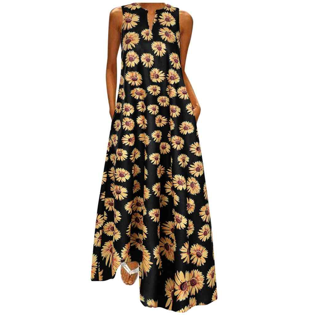 Women Sunflower Print, Bohemian V Neck Sleeveless Maxi Dress