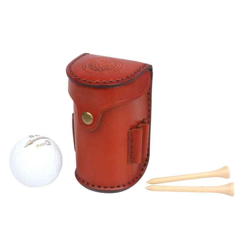 Mini Portable Golf Ball Bag Tee Holder, Holds 2-balls, Divot, Leather Waist Golf Pouch