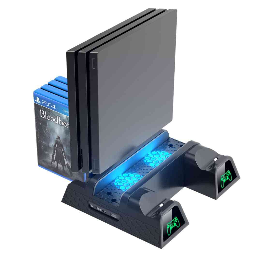 Dual Controller Charger Console Vertical Cooling Stand Station Led Fan