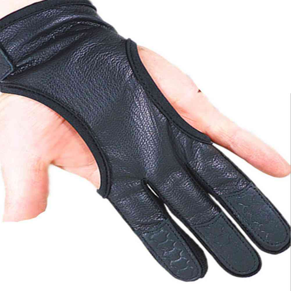 Professional 3-fingered Leather Gloves-hand Guard For Bow Shooting