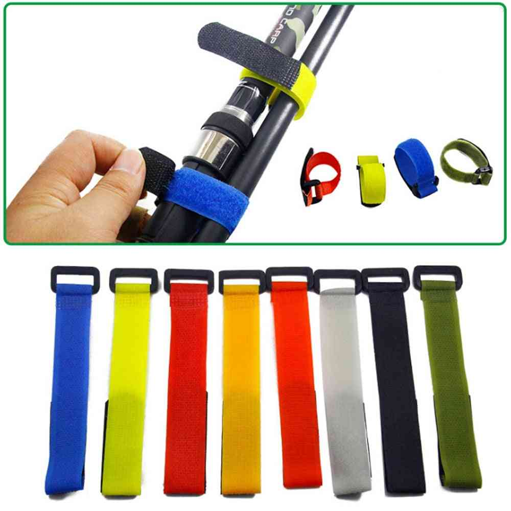 Reusable Fishing Rod Tie Holder Strap, Suspenders Fastener Hook, Belt Tackle Accessories