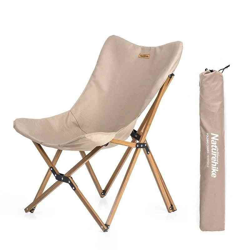 Wood Timber Fishing Chair Can For Office, Camping, Light Grain Nap, Outdoor Folding Seat