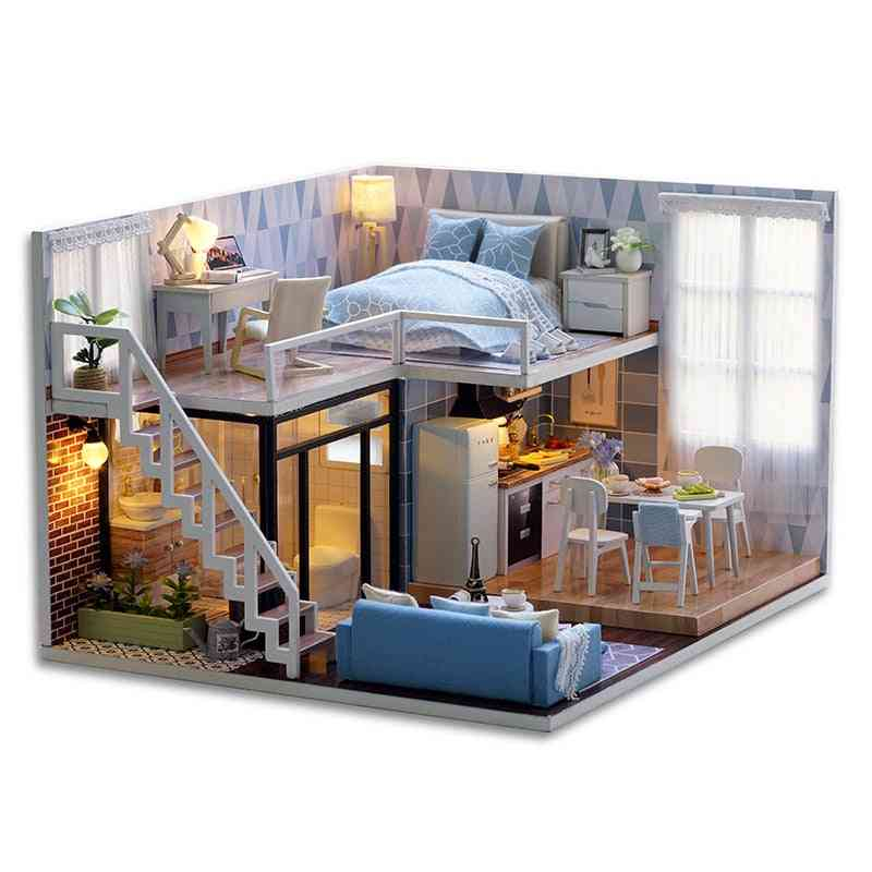 Diy Wooden Doll Houses Miniature Kit With Led Lights For Children