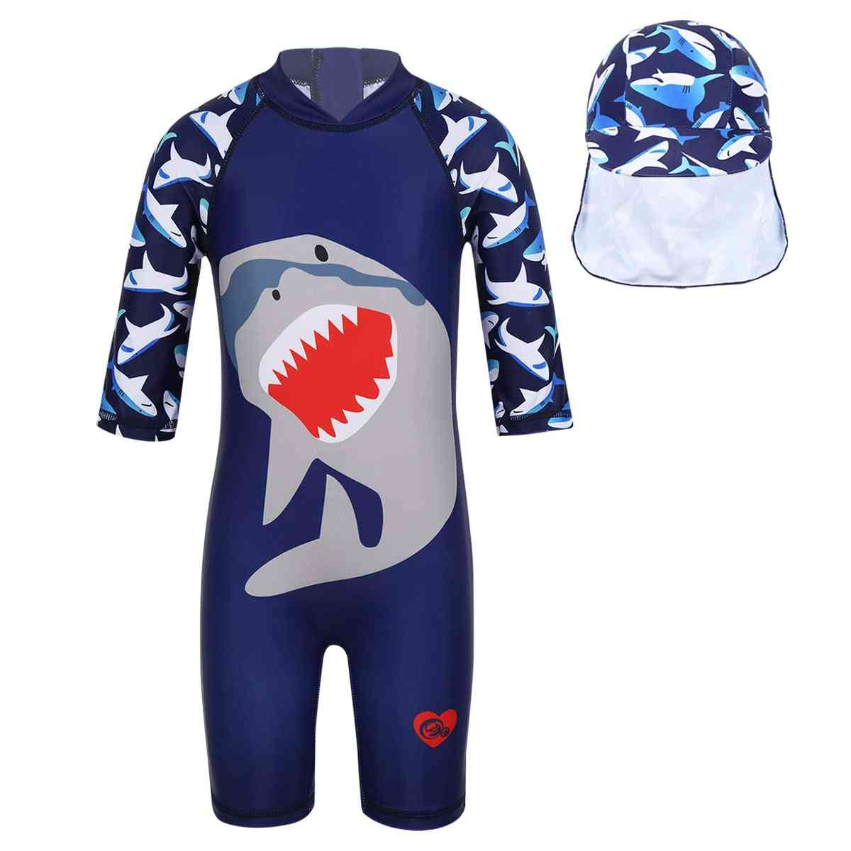 Boys Surfing Swimwear Shark Pattern Printed Suit With Swimming Cap