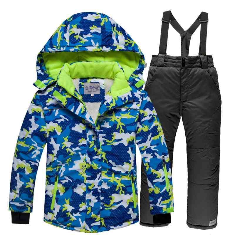 Children Windproof Warm Ski Set Including Jacket And Pants