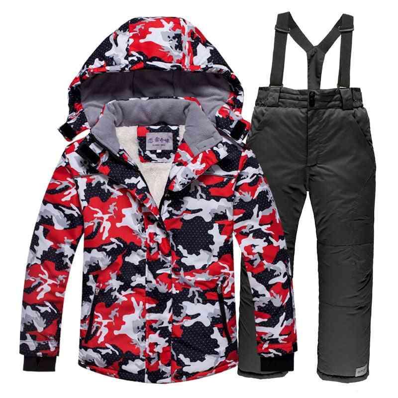 Windproof Warm Fleece Snow Suit, Including Jacket And Pants