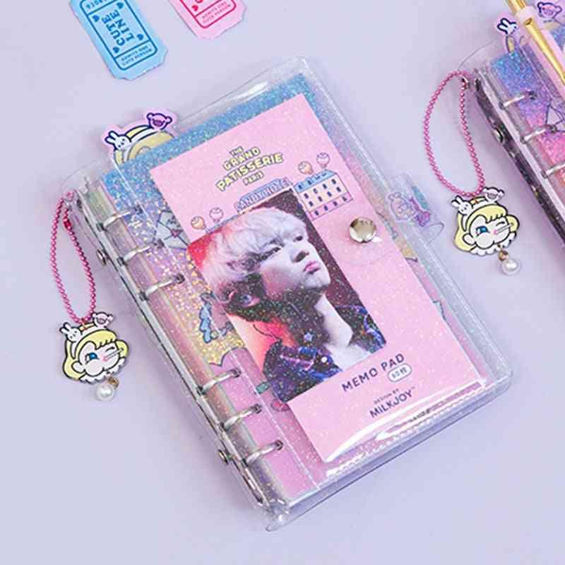 Binder Notebook Spiral-diary Transparent Notepad, Girl Handbook Cute Coil