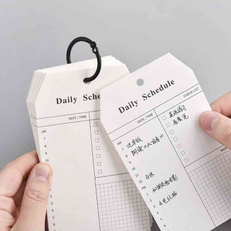 Loose-leaf Daily-schedule List, Memo Note-pads For Study/work