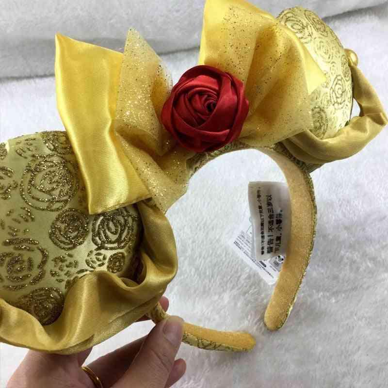 Disney Beauty And Beast Headband Flowers Party Headwear Stereo