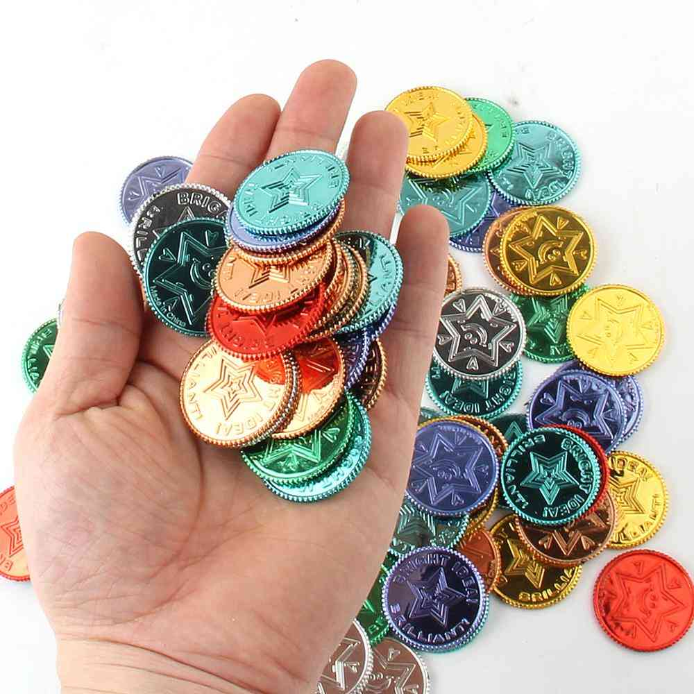 Plastic Pirate Gold Colorful Treasure Coins For Party Play Game Supplies