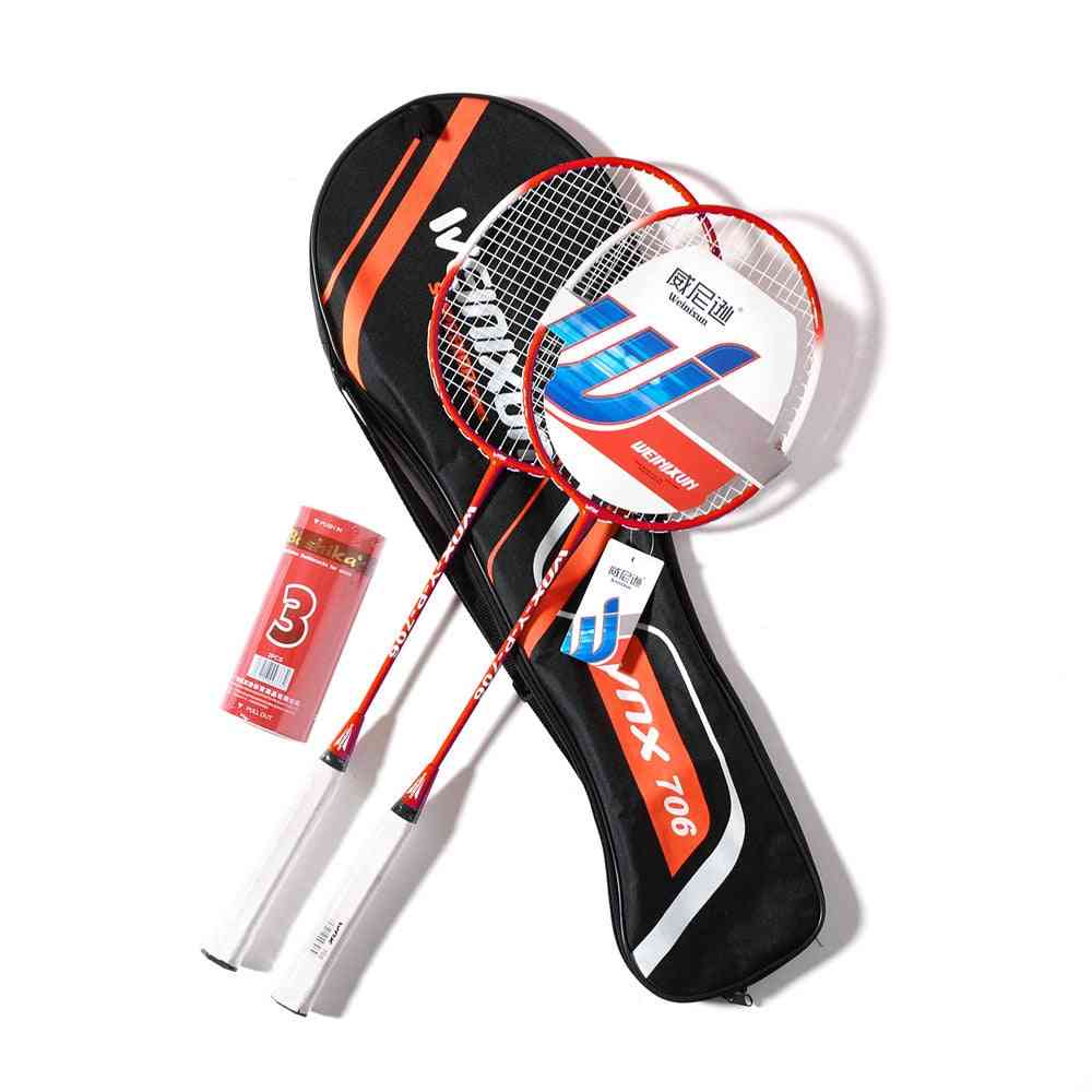 Professional Carbon Fiber Badminton Racket Set With  Shuttlecocks And Carrying Bag