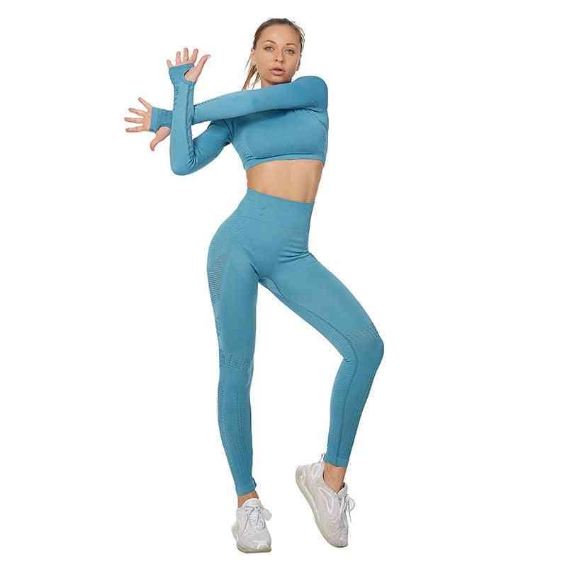 Women Sport Suit Set- Long Sleeve Crop Top And Leggings