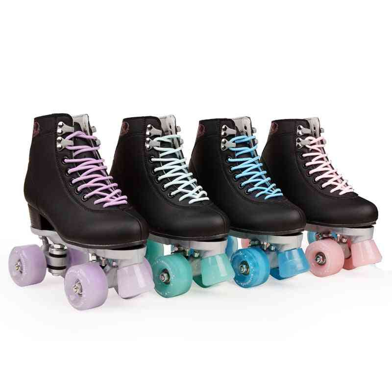 Artificial Leather Double Line Roller Skates - Two Line Skate Shoes Patines With Pu 4 Wheels