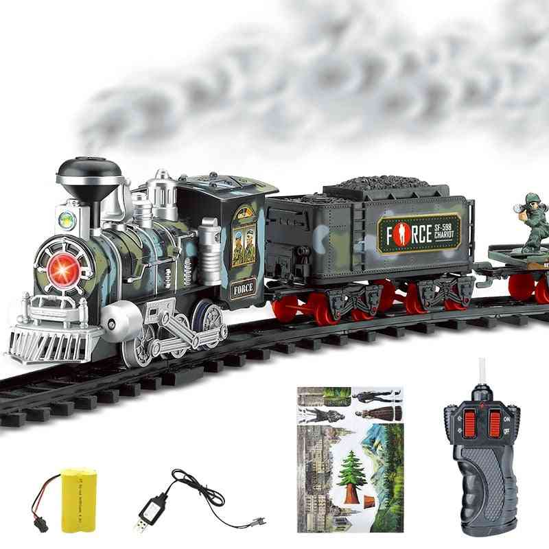 Rc Conveyance Rail Car Electric Steam Smoke Track Train Simulation Rechargeable Set Toy
