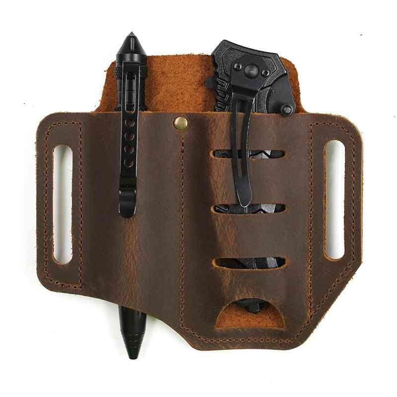 Edc Outdoor Leather Multi-tools Holder -tactical Belt Pouch