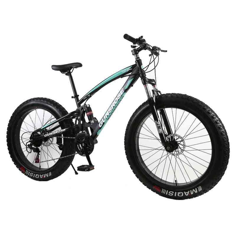 Mountain Bike, Double Disc Brake Beach Bicycle Carbon Steel 24/26 Inch