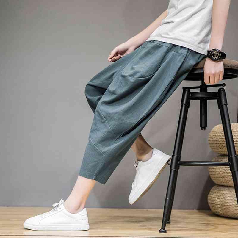 Summer Men's Cropped Pants- Large Size Loose Harem