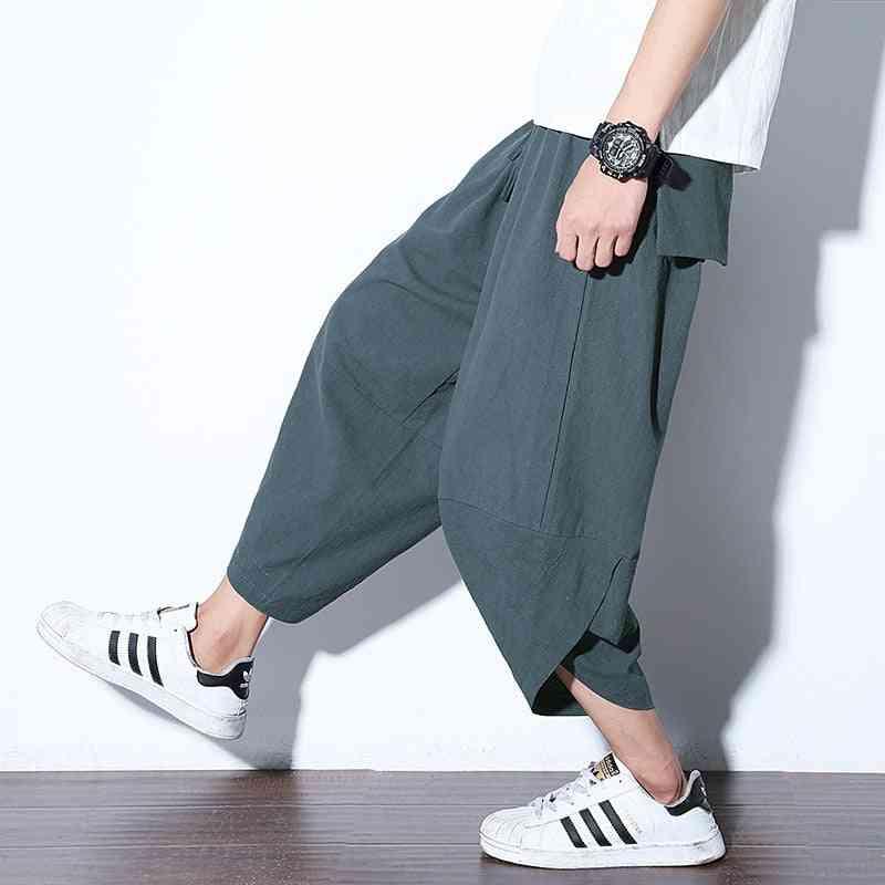 Wide Leg Summer Men's Loose Cotton And Linen Turnip Pants