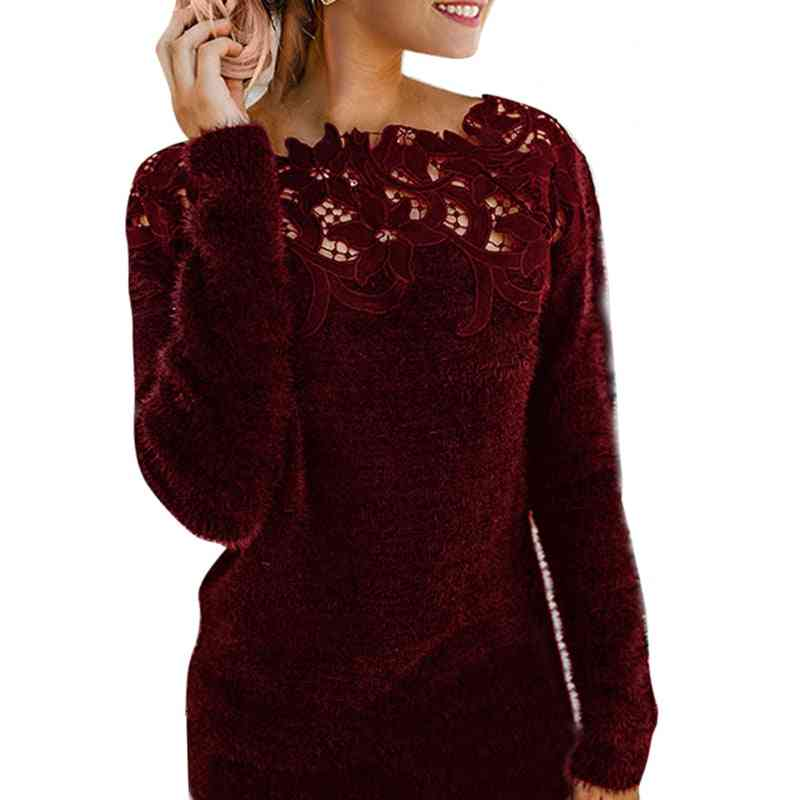 Women Long Sleeve  Sexy Lace Pullover