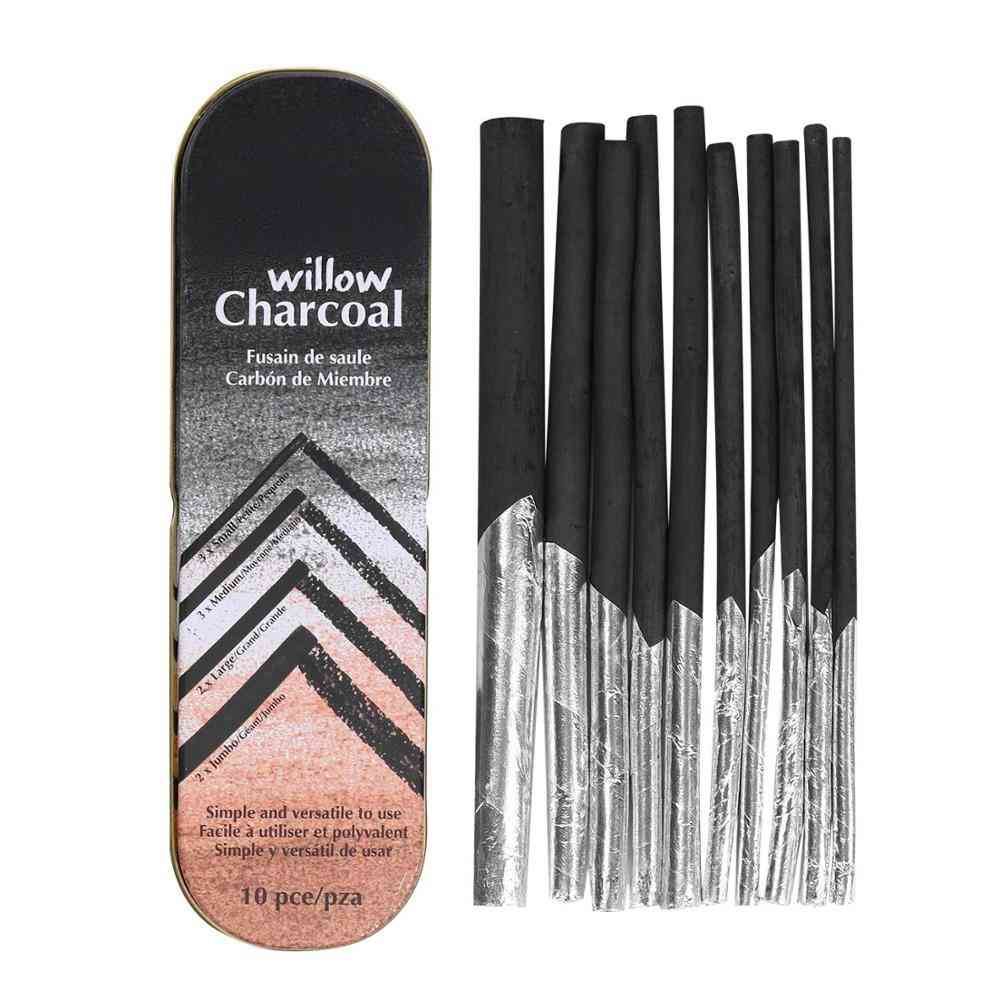 Willow Charcoal Sticks With Tinfoil Tinted Paper & Metal Box