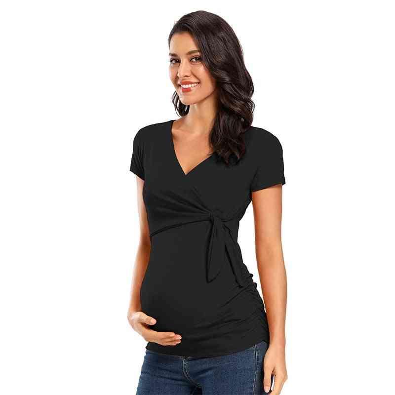 Maternity-short Sleeve, V-neck Sexy Tops