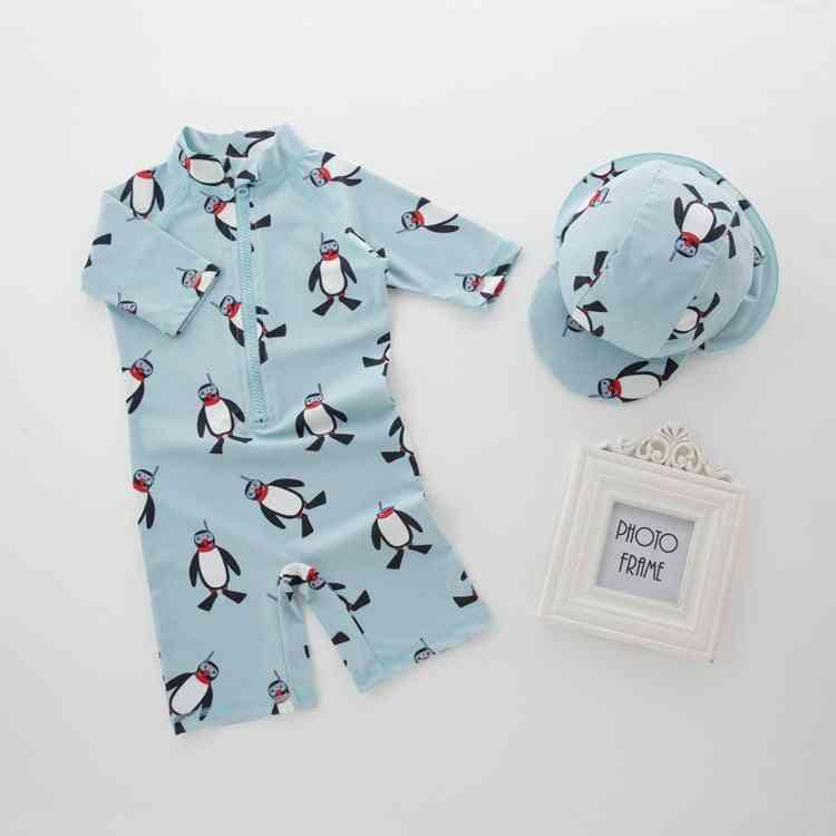 Swimwear+hat Set Penguin Animals Swimming Suit Infant Toddler Kids
