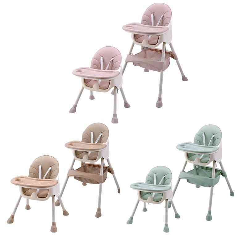 Children Feeding Dining Highchair, Double Tables, Multi-function Height-adjust Portable With Storage Bag
