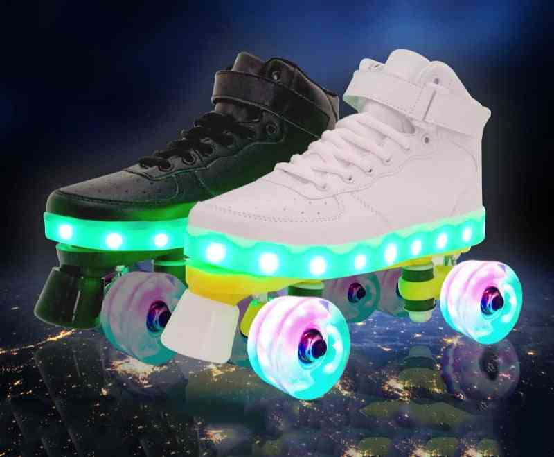 Led Rechargeable Double Row Wheel Roller Skates Shoes