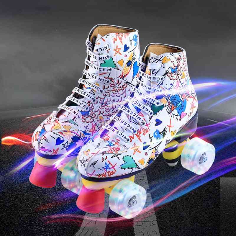 Printed Lace-up, Artificial Leather- Double Row Roller Skates
