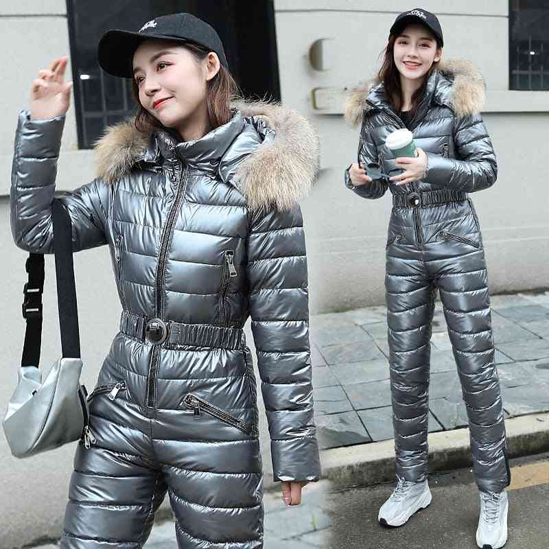 Women Fashion Hooded With Fur Collar Outdoor Snowboard Jacket