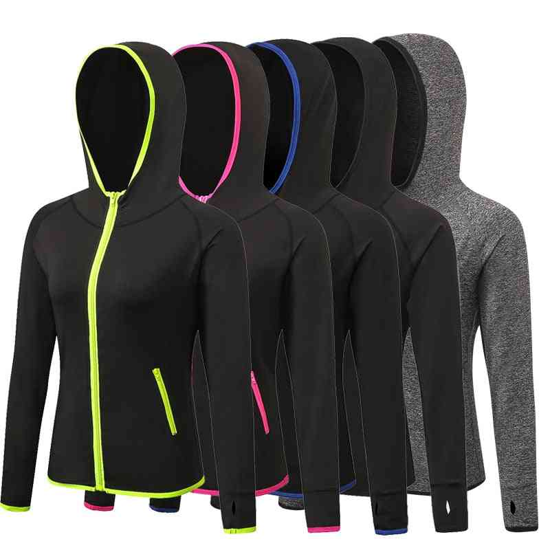 Women Sport Running Jacket, Thumb Holes Hoodies Zipper Gym Yoga