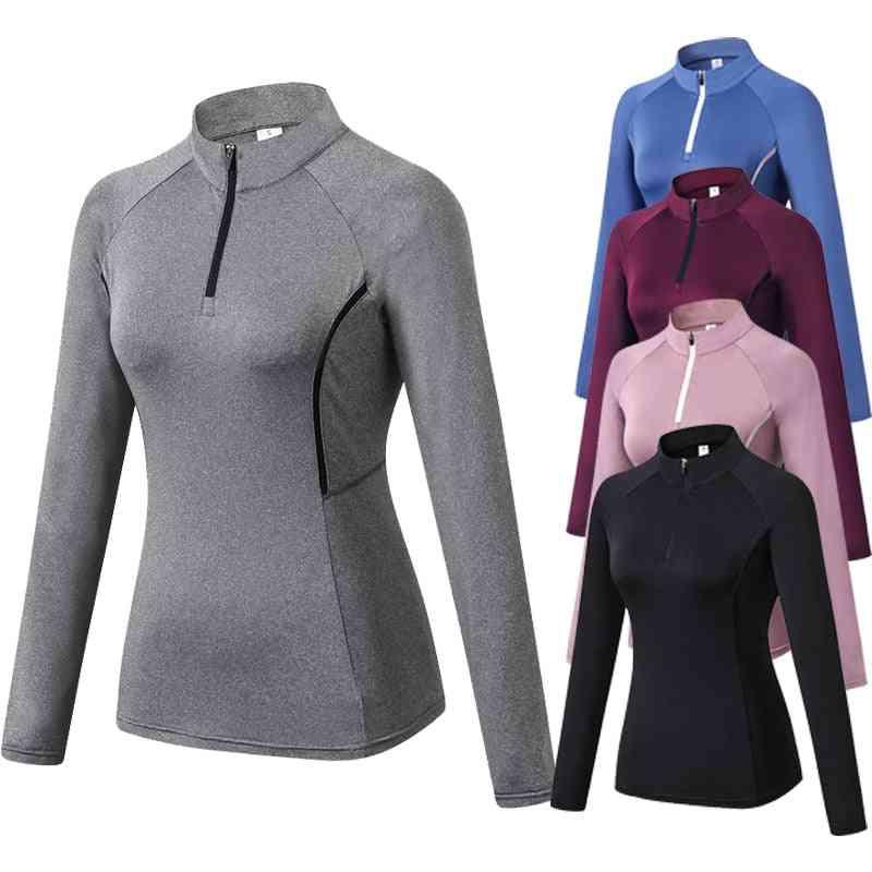 Women's Running Jacket, Fitness Yoga Training Zipper Sports Long Sleeve Tops
