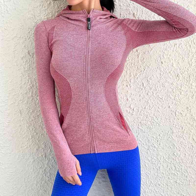 Women Zipper Sport Hooded Jacket