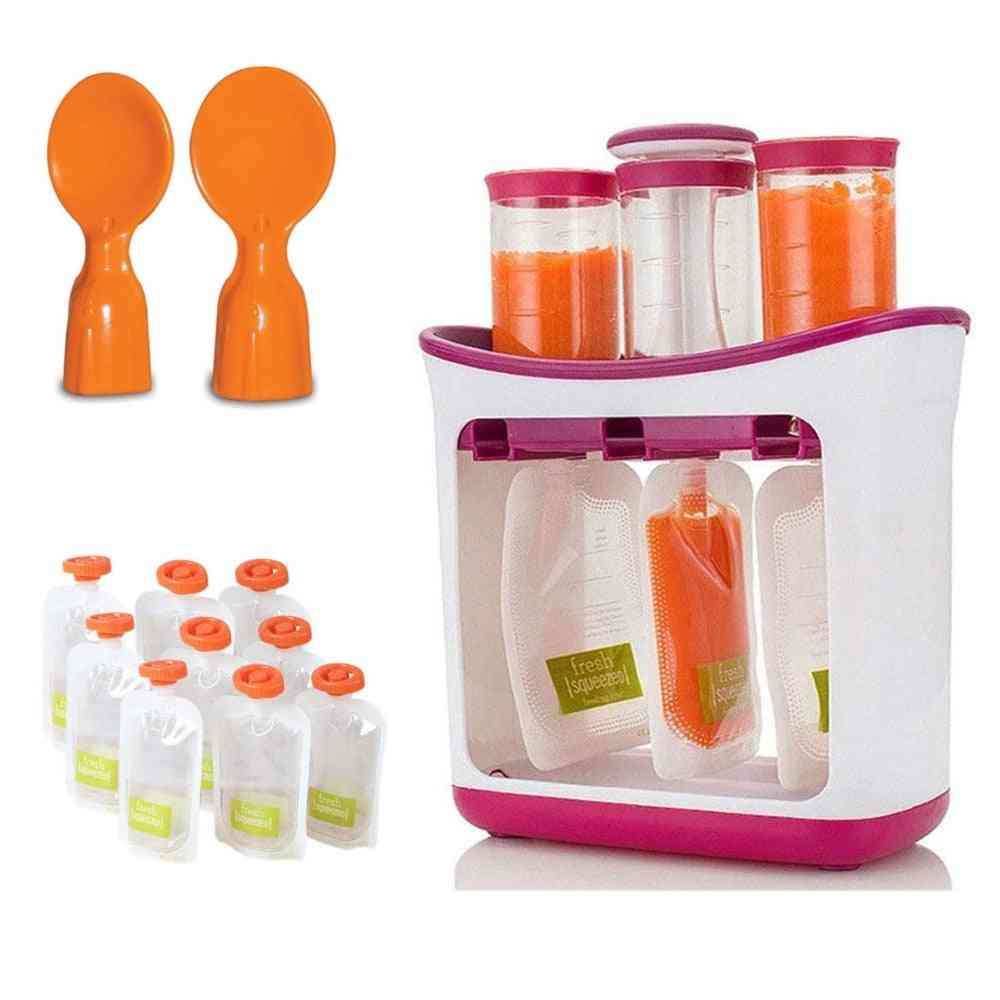 Baby Food Squeeze And Storage Station With Pouches Kit