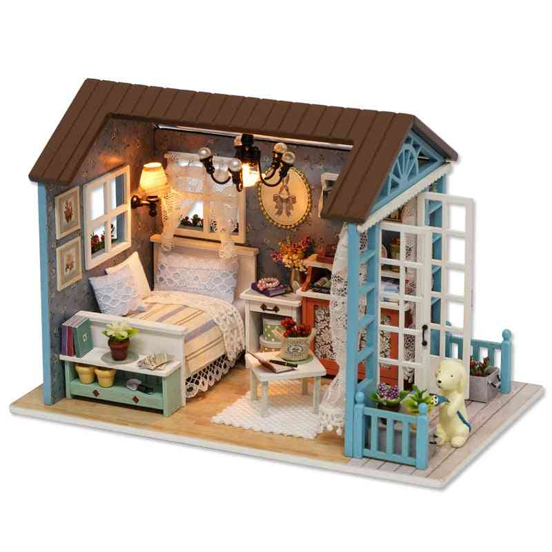Miniature Diy Dollhouse With Wooden Furniture For
