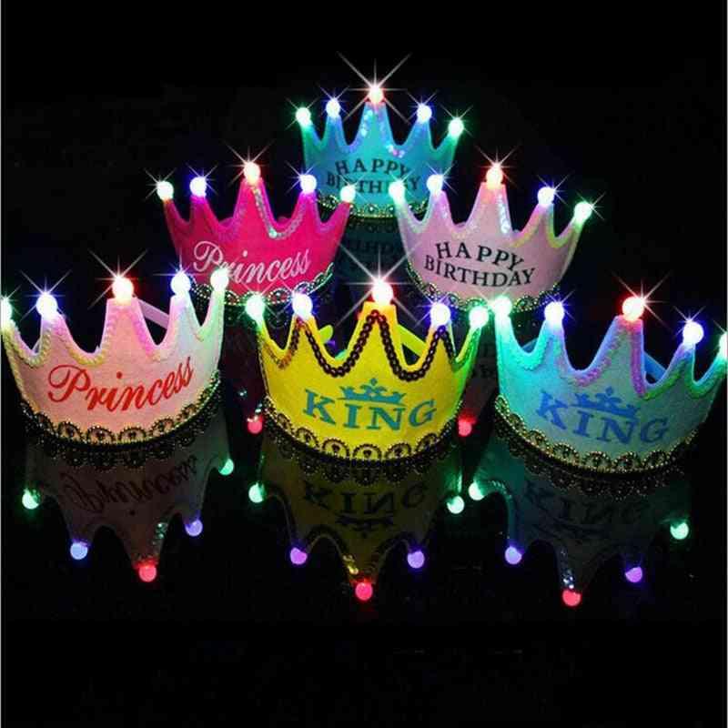 Led Happy Birthday Crown Light Up Hat / Cap