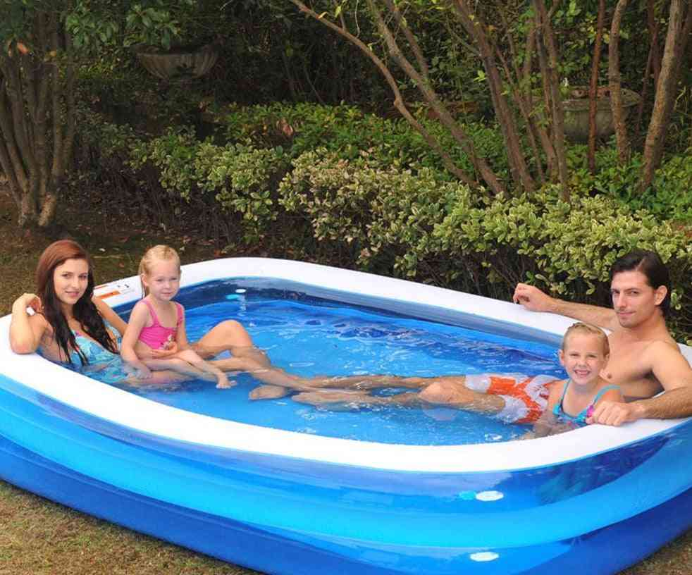 Rectangular Inflatable Swimming Pool, Thicken Pvc Bathing Tub For Family