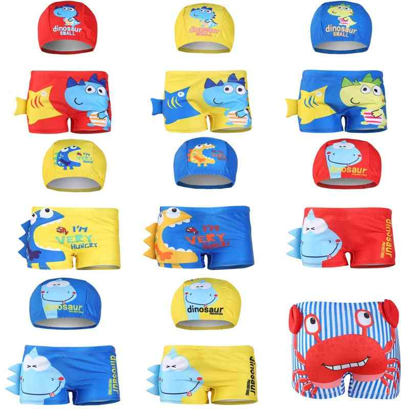 Cartoon Diansours Printed-summer Swimming Shorts And Hat For