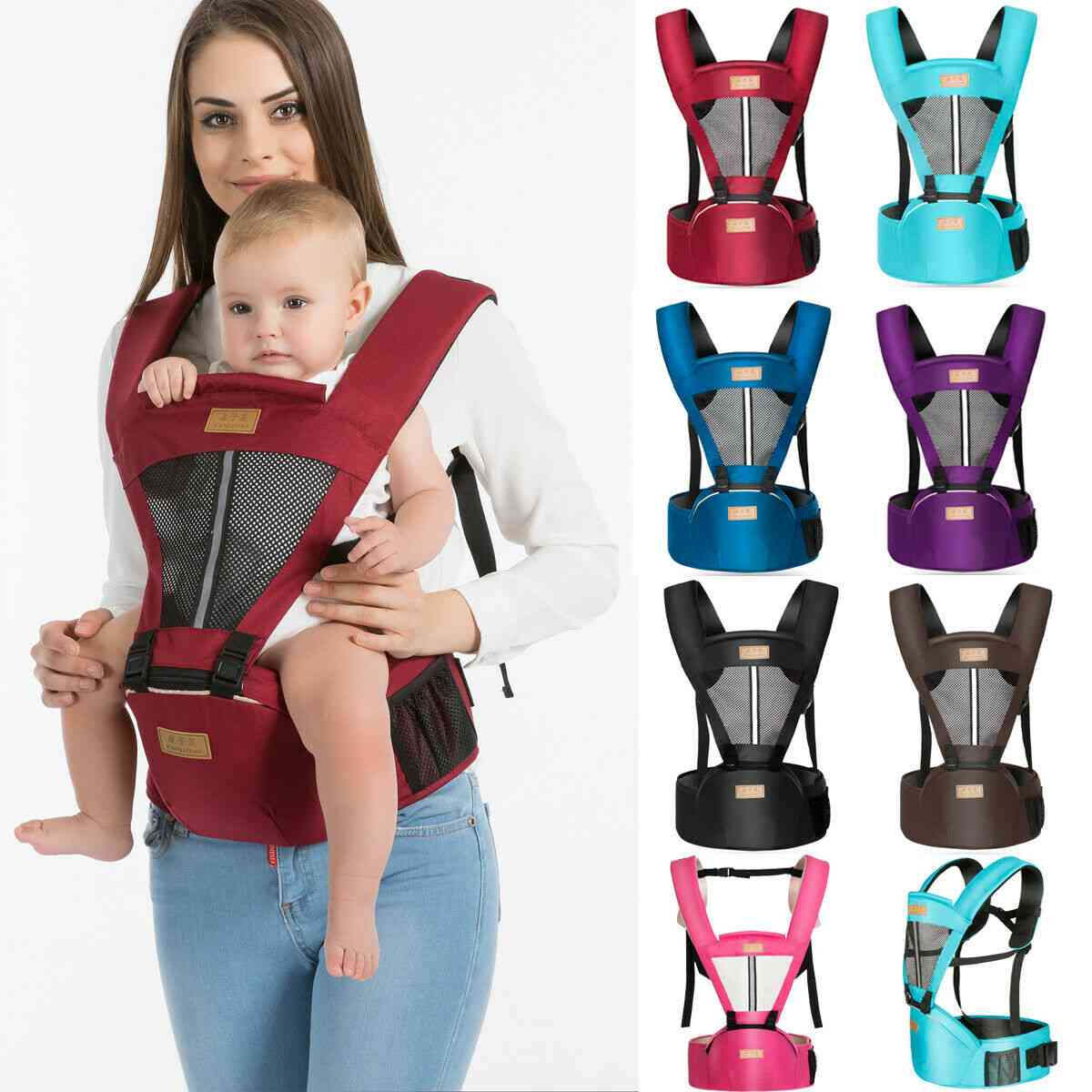 Newborn Baby Carrier Kangaroo, Soft Breathable Adjustable Sling Wrap Portable Hipseat