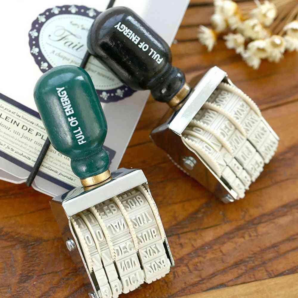 Vintage Date Postmark Stamps, Diy Handle Account Wheel Knob Stamping Mud