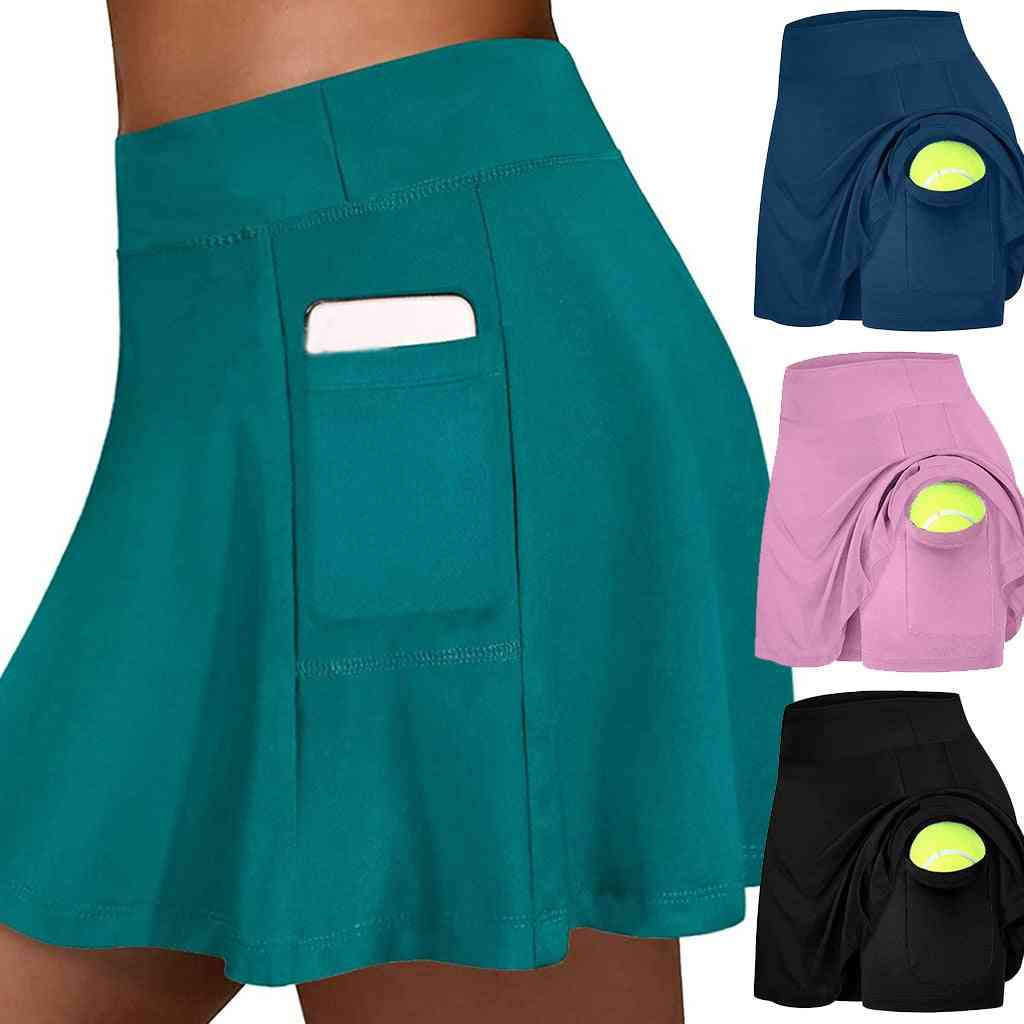 Women Tennis Sports Skirt With Shorts And Inside Pocket