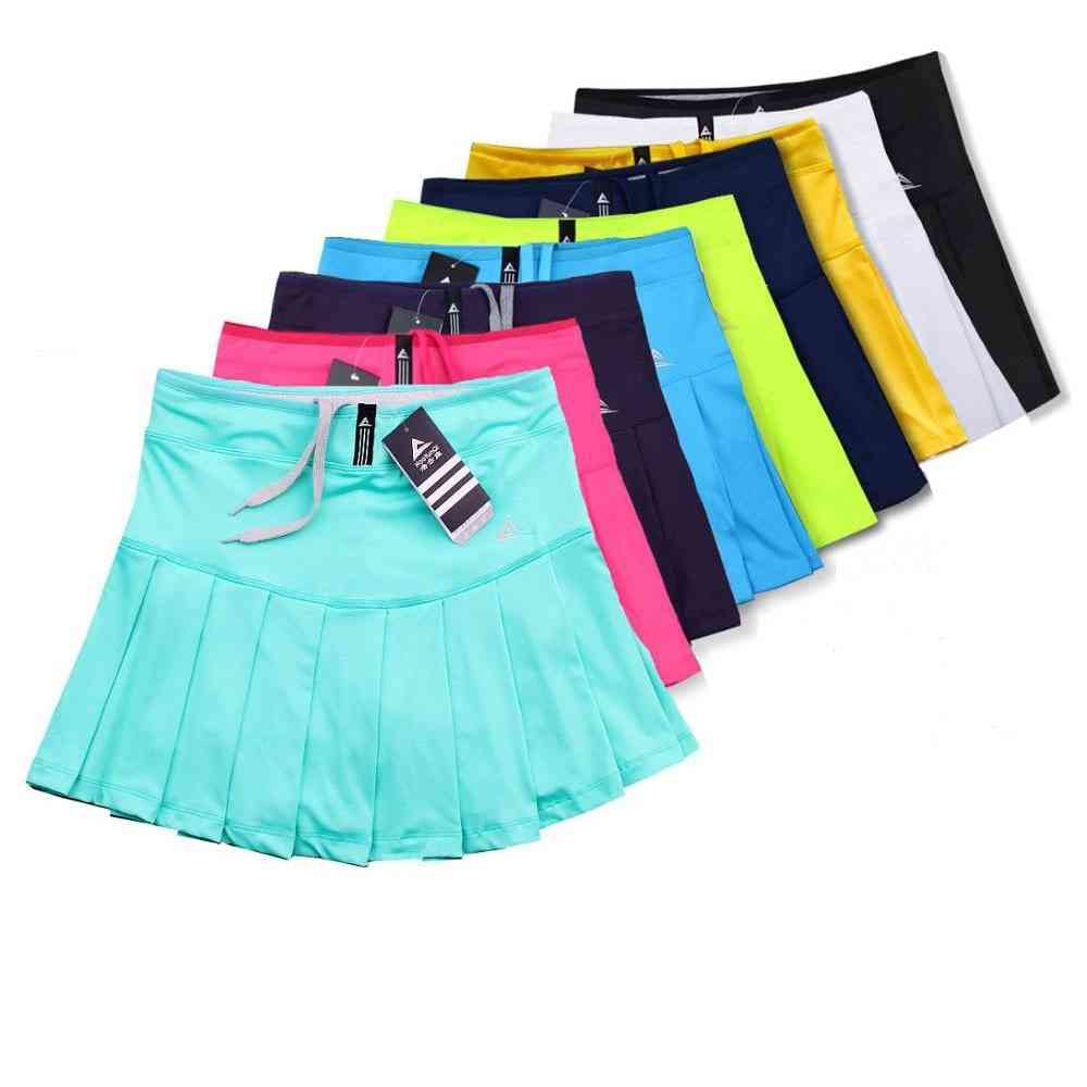 Quick Dry Women's Sports Pleated Skirts With Safety Shorts