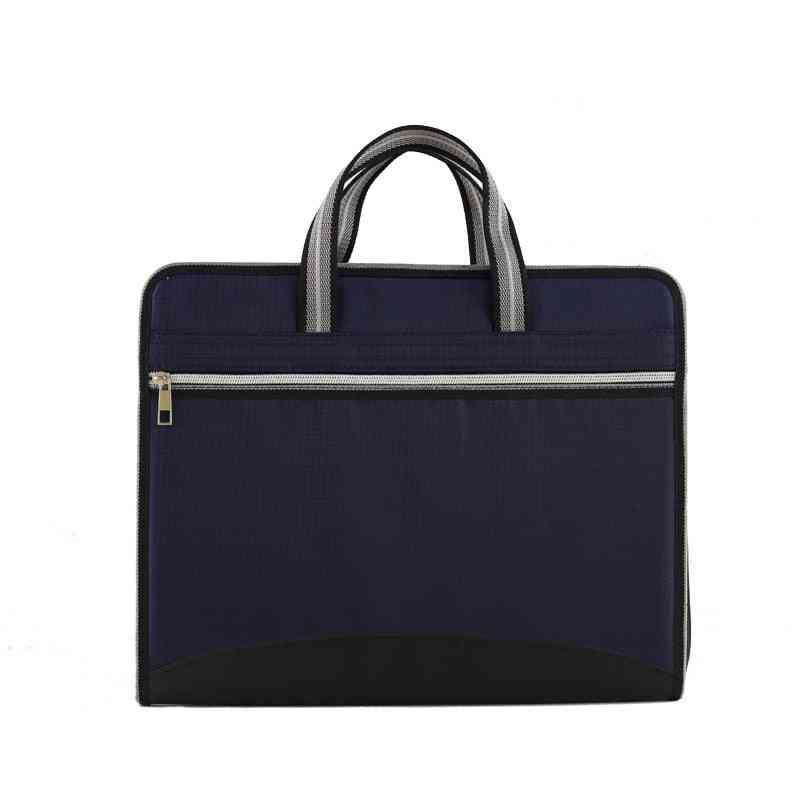 Zipper Waterproof Insert File Bag, Multi Layers Oxford Cloth