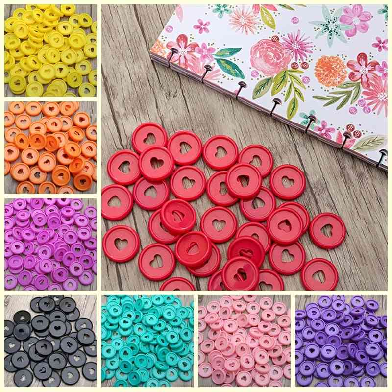 Solid Heart Binder Rings For Notebooks, Diy Happy Planner Discs For Scrapbooking