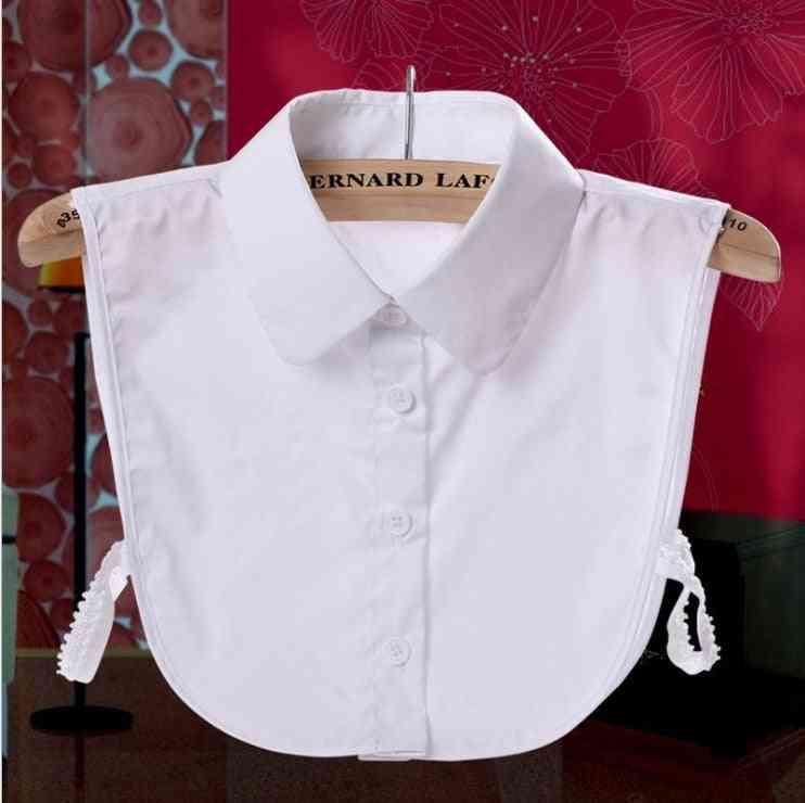 Women Cotton Detachable Lapel Lattice Shirt, Fake Collar Blouse Neckwear Clothing