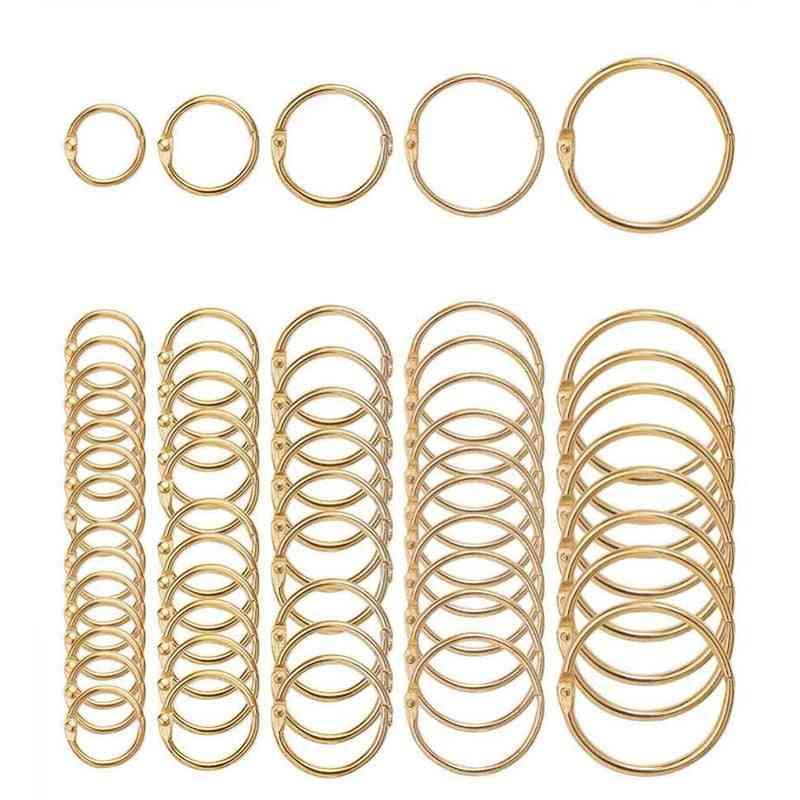 Metal Notebook Rings, Gold Binder
