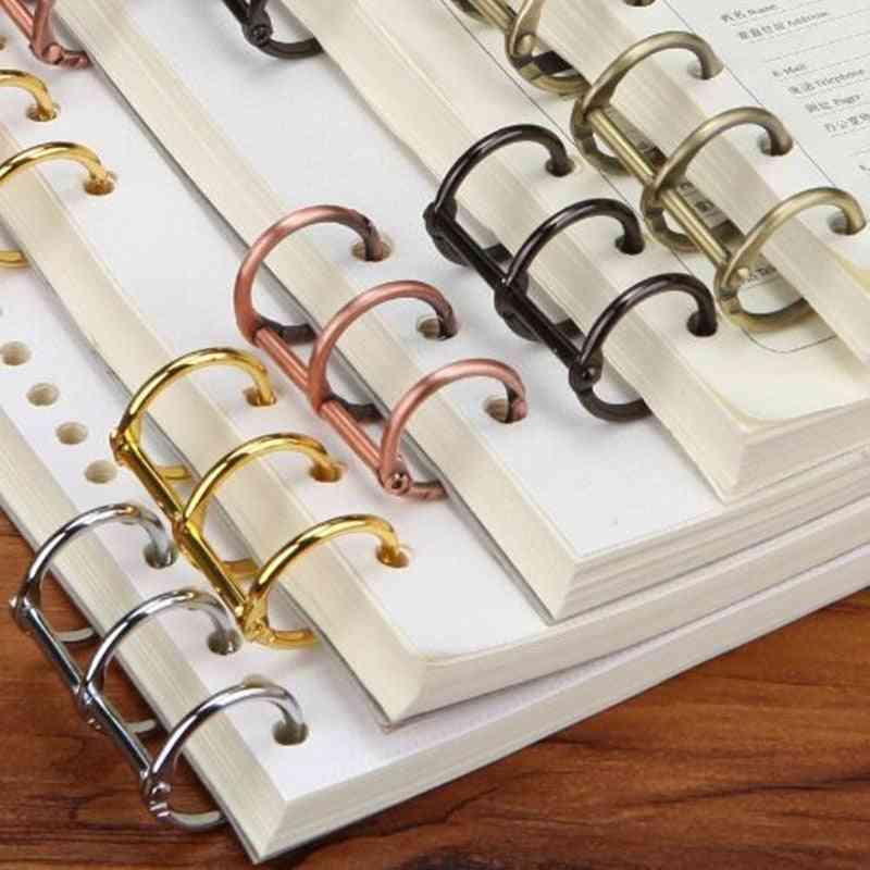 Metal Plated Loose Leaf Book Binder, Hinged Ring Nickel Desk