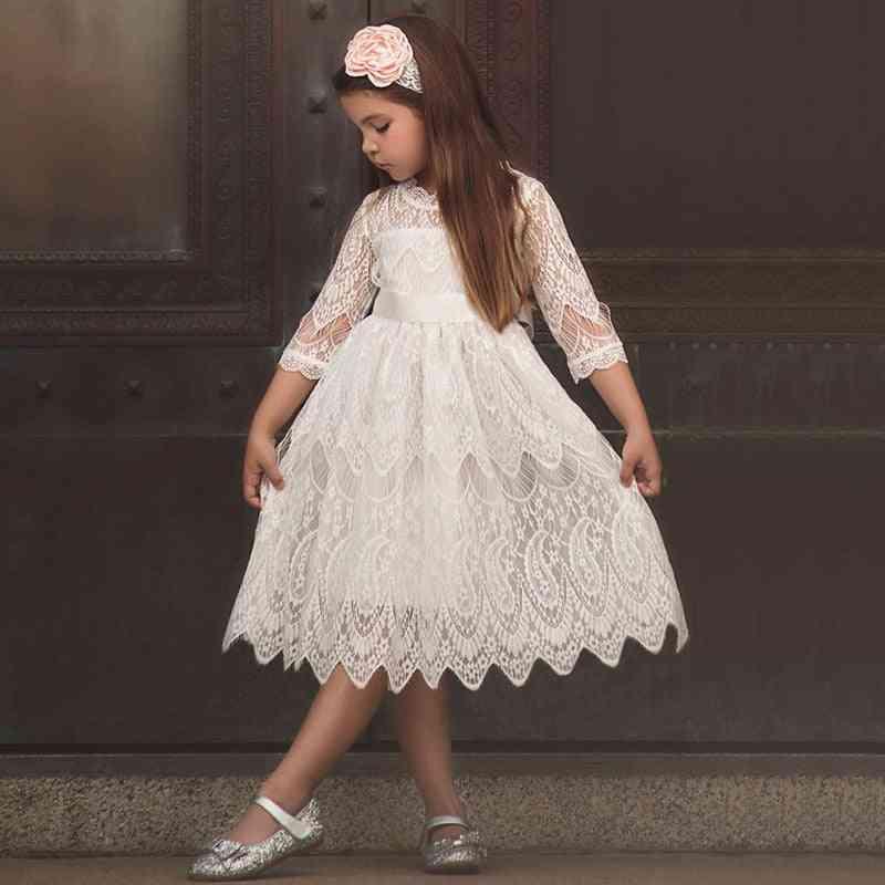 Half Sleeve Lace Girl Princess Dress