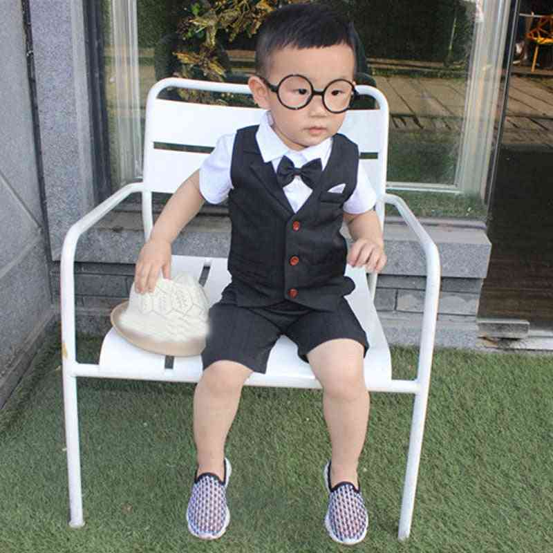 Formal Suits For Baby Single Breasted Short, Shirt & Vest Set