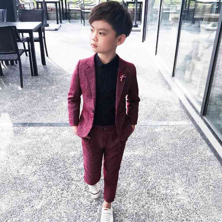 Boy Single Breasted Blazers Suit, Formal Cotton Clothing